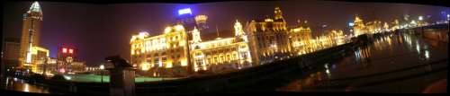 Cityscape of the Bund at Night in Shanghai, China free photo