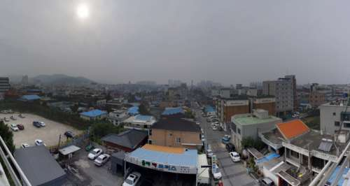 Cityscape under grey skies in Asan, South Korea free photo