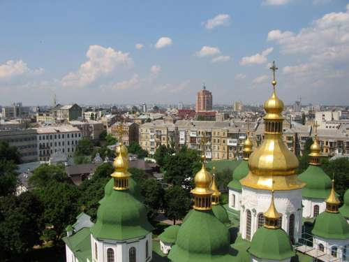 Cityscape view from Bell tower with cathedral in Kiev, Ukraine free photo
