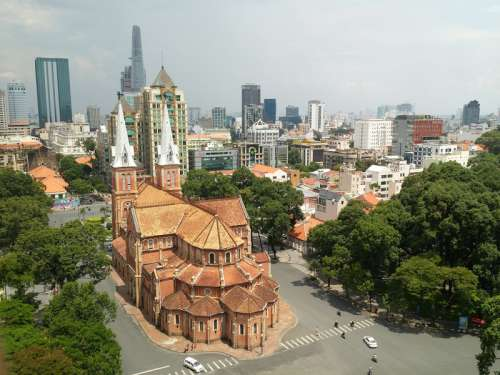 Cityscape view in Saigon, Vietnam free photo