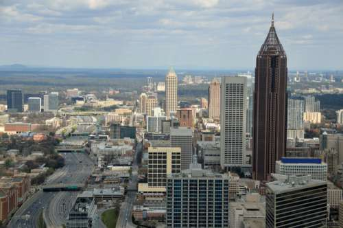 Cityscape View of Atlanta, Georgia with roads, skyscrapers and buildings free photo