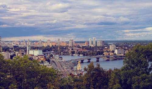 Cityscape view of Kiev, Ukraine free photo