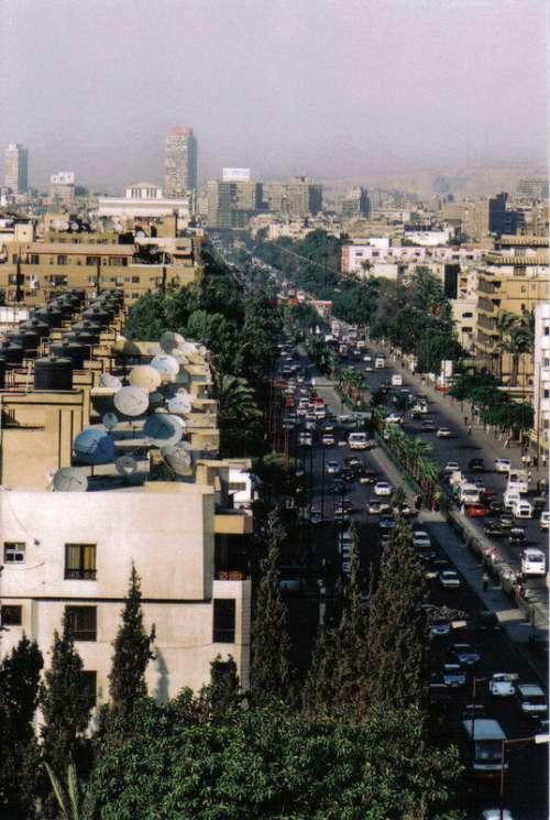 Cityscape view of the Main Street in Giza, Egypt free photo