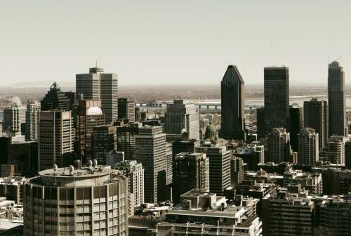 Cityscape view of the skyscrapers in Montreal, Quebec free photo