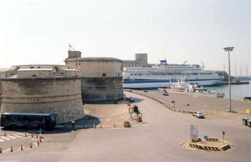 Civitavecchia fort and harbour in Italy free photo