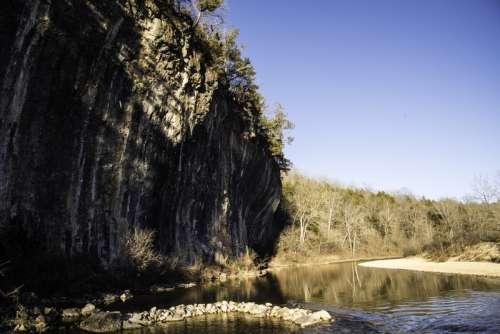 Cliffs along the river landscape at Echo Bluff State Park, Missouri free photo