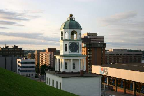 Clock Tower and city in Halifax , Nova Scotia free photo