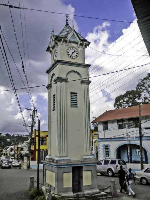 Clock Tower in the Center of Town in Claremont, Jamaica free photo