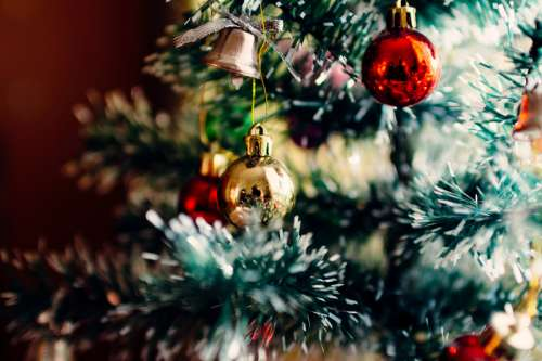 Close-up of Christmas Tree Ornaments  free photo