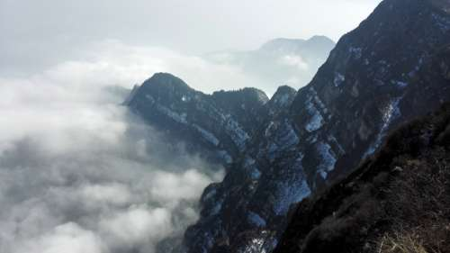 Clouds and landscape in Sichuan, China free photo