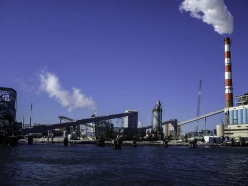 Coal-fired power plant in the Harbor at Bridgeport, Connecticut free photo