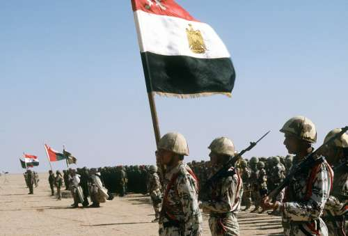 Coalition troops from Egypt, Syria, Oman, France and Kuwait during Operation Desert Storm free photo