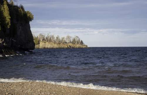 Coastline of Lake Superior landscape at Gooseberry Falls State Park, Minnesota free photo