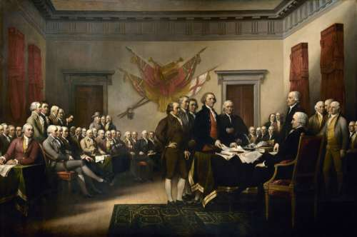 Committee of Five presenting the Declaration of Independence to Congress free photo