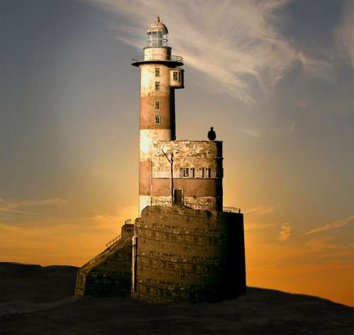 Computer Visualization of Lighthouse at Sunrise free photo