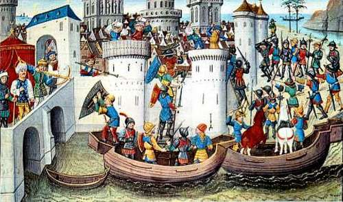 Conquest of the Eastern Orthodox city of Constantinople by the Crusaders in 1204 free photo