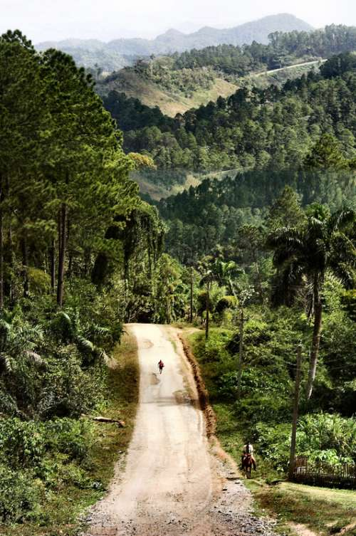 Country road landscape in Cuba free photo