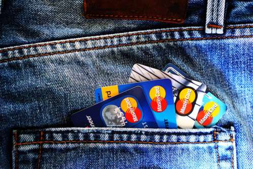 Credit Cards in a pocket free photo