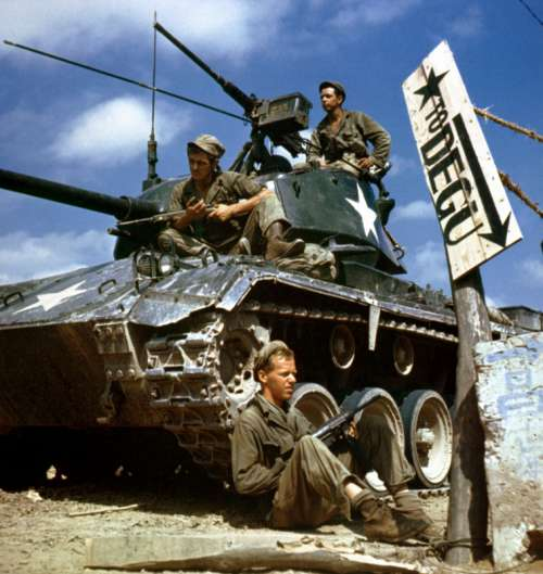 Crew of an M-24 tank along the Nakdong River front, August 1950 during Korean War free photo