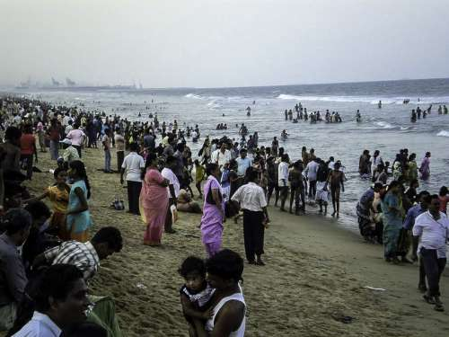 Crowd at the beach in the evening in Chennai, India free photo