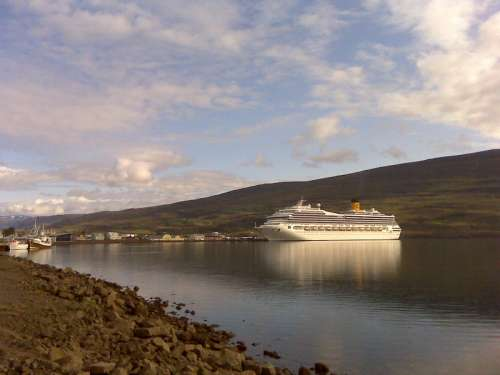 Cruise ship in the harbour in Akureyri, Iceland free photo