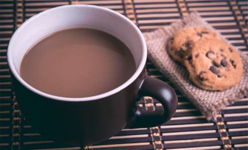 Cup of Coffee with Chocolate Chip Cookies free photo