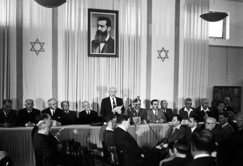 David Ben-Gurion proclaiming the Israeli Declaration of Independence in Israel in 1948 free photo