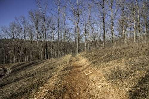 Dirt hiking trail landscape at Echo Bluff State Park, Missouri free photo