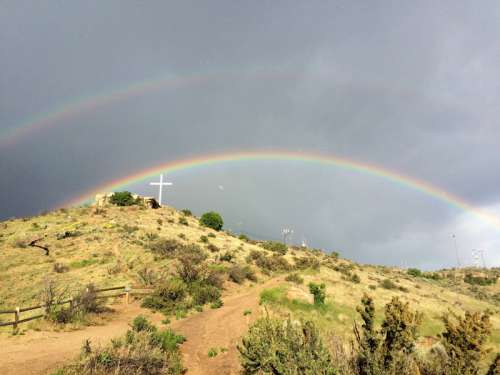 Double Rainbow over Table Rock landscape in Boise, Idaho free photo