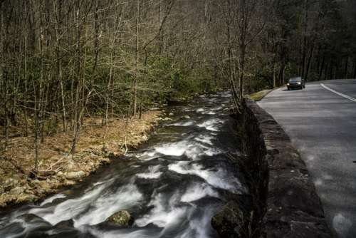 Downstream rapids in Great Smoky Mountains National Park, North Carolina free photo