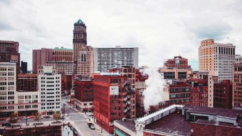 Downtown buildings in Detroit,Michigan free photo