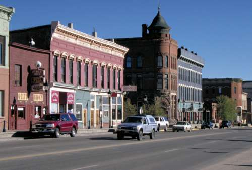 Downtown Leadville buildings and street in Colorado free photo