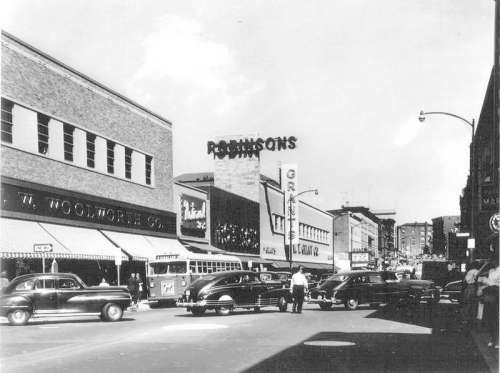 Downtown on East Main Street in 1954 in Waterbury, Connecticut free photo