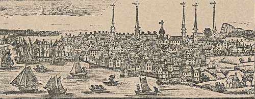Drawing of New Haven, Connecticut in 1786 free photo
