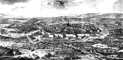 Drawing of Vienna, Austria in 1683 free photo