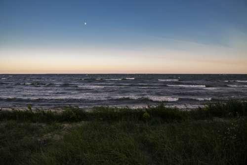 Dusk and Horizon landscape upon Lake Michigan at J.W. Wells State Park free photo