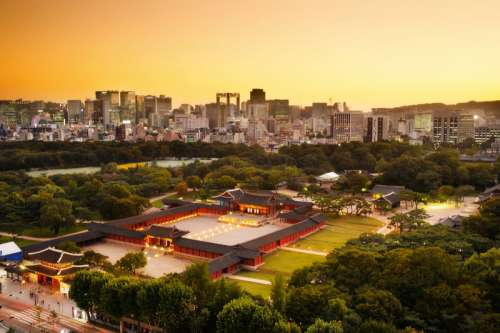 Dusk Cityscape with Seoul Skyline and Changdeokgung palace in South Korea free photo
