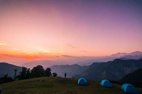 Dusk landscape and sky in Chopta, India free photo