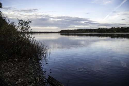 Dusk landscape on the Wisconsin River at Ferry Bluff free photo