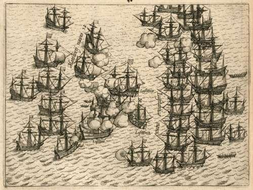Dutch battling Portuguese in 1606 free photo