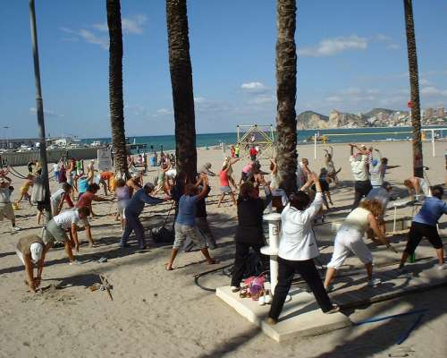 Early morning exercise in Benidorm, Spain free photo