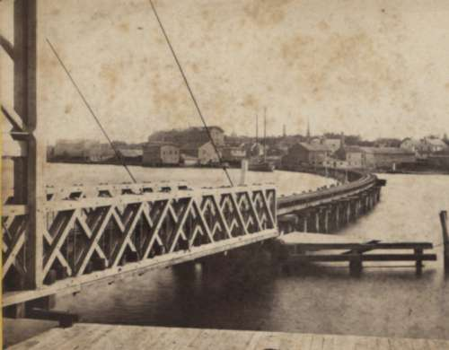 East Bridgeport Bridge over Pequannock River around 1850 in Connecticut free photo