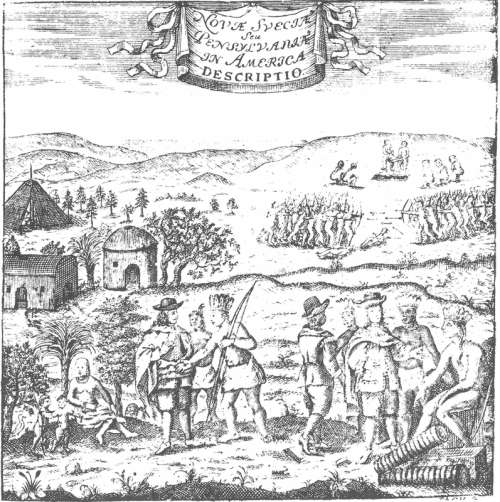 Encounter between swedish colonists and natives of Delaware free photo