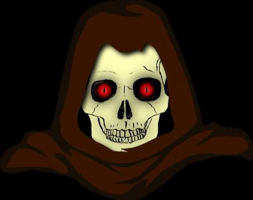 Evil Hooded Skull vector clipart free photo