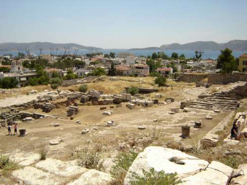 Excavation site towards Eleusis and the Saronic Gulf in Greece free photo