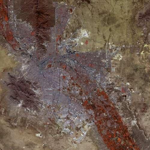 False-color satellite image of El Paso, Texas free photo
