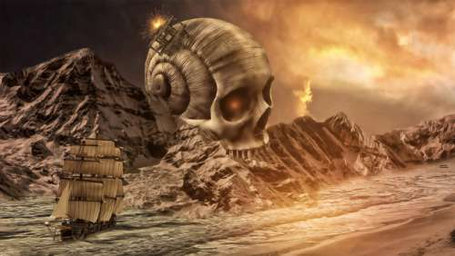 Fantasy Landscape with Ship and Skull free photo