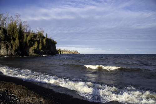 Far look at the Shoreline at Gooseberry Falls State Park, Minnesota free photo