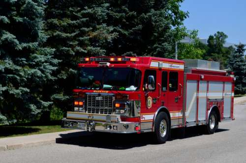 Fire engine of Markham Fire and Emergency Services in Ontario, Canada free photo