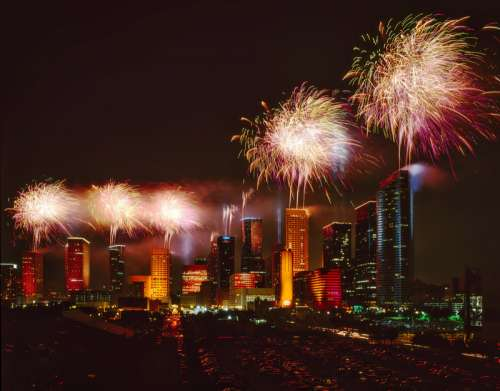 Fireworks above the skyline of Houston, Texas free photo